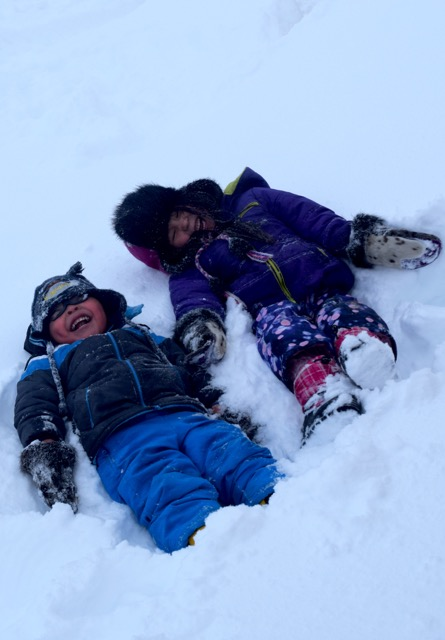 Silly Kids in the Snow Brevig Mission, Alaska