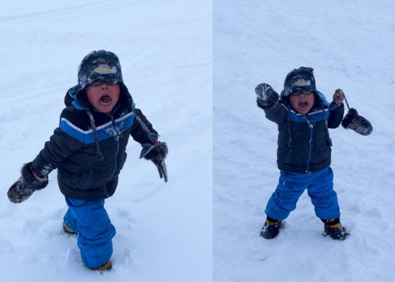 Little Man in the Snow in Brevig Mission, Alaska
