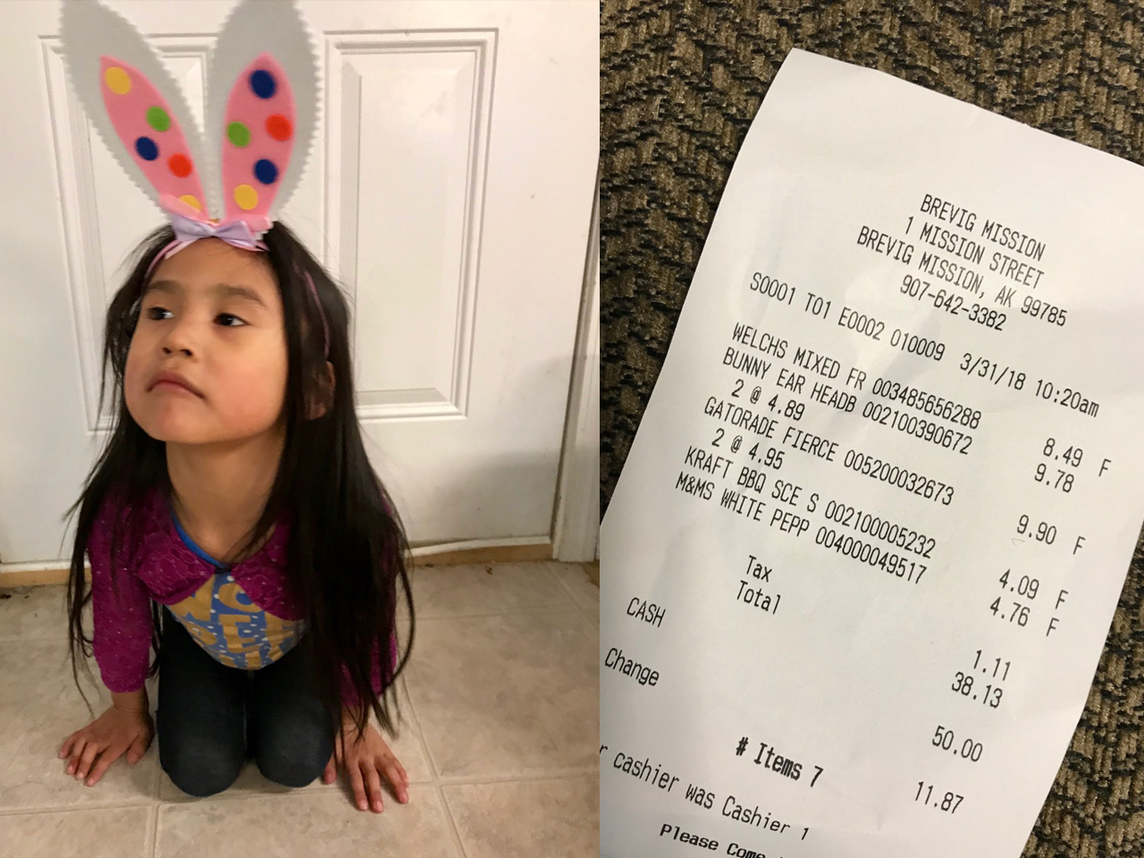 Shopping in Bush Alaska: Easter Edition Bunny and Receipt